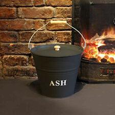 Large 12L Fireside Ash Bucket With Lid Metal Coal Storage Log Holder Tidy Bin