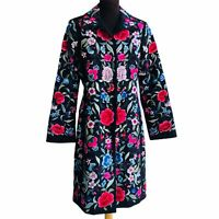 BIYA Johnny Was Size S Embroidered Floral Silk Fully Floral Embroidered Jacket