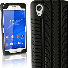 Schwarz Silikon Reifen Tasche für Sony Xperia Z3 D6603 Etui Schutz Hülle Case