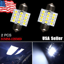 2 X Cool White Festoon 31MM 12SMD DE3175 3022  Map Dome Interior LED Light bulbs