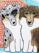 Aceo Rough Collie Puppies Art Card Print Collectible 2.5x3.5 Dog Double Trouble