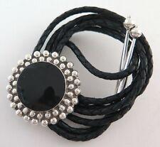 Elegant Sterling Silver & Black Enamel Southwestern Bolo Tie