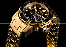 Invicta Pro Diver Scuba 18K Gold Plated Black Dial Chrono S.S Bracelet Watch NEW