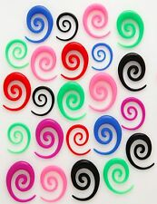 New 1 Pair (2) 4g Neon Acrylic Long Spirals Tapers-Plug
