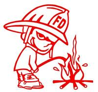 Peeing Firemen Firefighter Calvin Window Sticker Decal