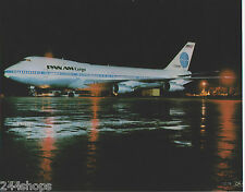 PAN AM - BOEING 747 CARGO AT NIGHT ON TARMAC - COLOR PHOTO 8 X 10