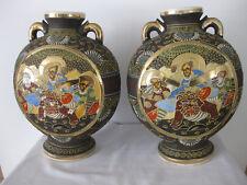 Vintage Satsuma Moon Flask Vases