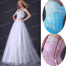 Long Corset Bridesmaid Wedding Formal Gown Cocktail Evening Prom Dress Size 6-20