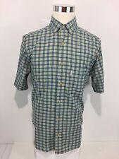 WOOLRICH Men's Medium Shirt Checks Multicolor Short Sleeve Button Front Rare