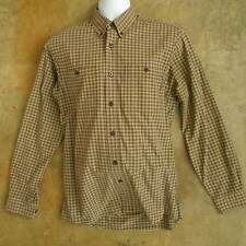 Men's ROYAL ROBBINS Long Sleeve Shirt Sz MEDIUM Button Front Tan Plaid Cotton