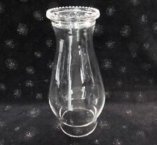 "OIL LAMP CHIMNEY PIECRUST BEAD RIM CLEAR GLASS 8.5 TALL 3"" BOTTOM RIM LAMP PART"