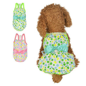 Summer Female Small Dog Clothing Pet Puppy Pink/Green Round Dot Bow Dress Vest