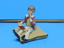 Vintage Sewing Pin Cushion Little Boy Figurine Sitting on Pillow Reading Book