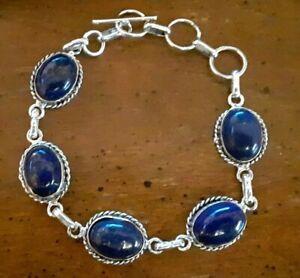 "Southwestern Lapis Lazuli Gemstone Bracelet 925 Sterling Silver 7-8.25"" #144"