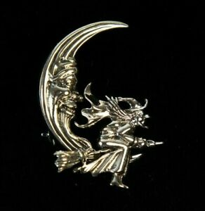Vintage Sterling Silver Moon & Witch Broomstick Brooch | Pin | Gothic |Halloween