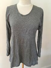 Baker Street NZ Grey & White Striped Top - Size S (8)
