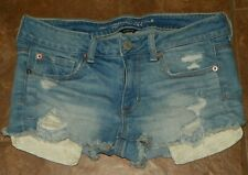 Women's AMERICAN EAGLE OUTFITTERS Blue Jeans Denim SHORTS Size 6 Distressed