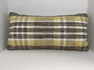 Threshold Woven Plaid Oversized Lumbar Throw Pillow - Yellow, Brown, White