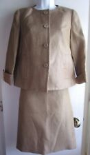 Talbots NWT $308 Gold Brown Jackie Fit Straight Career Skirt Suit Sz 2 2
