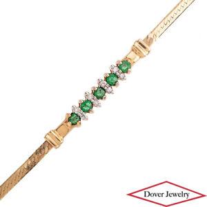 Estate Diamond Emerald 14K Yellow Gold Herringbone Thin Link Bracelet NR