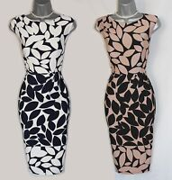 Phase Eight Navy and Camel Leora Leaf Print Silky Jersey Pencil Dress UK 10  £99