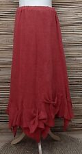 *ZUZA BART*DESIGN OVERSIZED AMAZING HAND MADE LINEN BEAUTIFUL SKIRT*RED*XXL-XXXL
