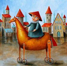Original painting Oil on canvas CONTEMPORARY ART Pronkin RIDER ON YELLOW HORSE