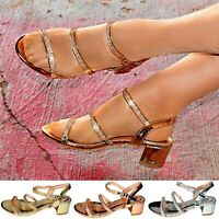 Womens Strappy Sandals Low Block Heel Diamante Metallic Look Shoes Party Size