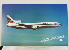 Postcard Delta Air Lines Lockheed L-1011 Tristar Unposted Plane flying blue sky