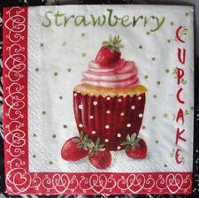 """Lot 3 serviettes en papier """"Délicieux cupcake aux fraises"""" (Paper Napkins)"""