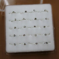 Wholesale 20Pcs 925 Sterling Solid Silver Clear Crystal Nose Lip Ring 22 Gauge