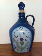 "Buchan Pottery Scotland Thistleware Thistle Blue Purple Stopper DECANTER JUG 7"""