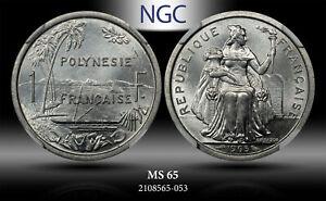 1965 POLYNESIA 1 FRANC NGC MS65