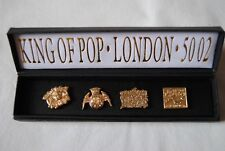 More details for michael jackson king of pop london 50 o2 gold pin badge set x 4 new official