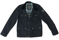 Belstaff Mens Cotton BARNINGHAM Biker Trench Jacket Navy Blue Size IT 48 UK 38 M