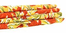 5 Yards Indian Block Printed Yellow Red Floral Cotton Sewing Fabric Dressmaking
