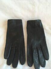 Vintage Leather Black Lined Dress Gloves Size 7 Made in France