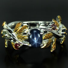 GENUINE 6 RAYS STAR BLUE & MULTI COLOR SAPPHIRE STERLING 925 SILVER RING SIZE 8