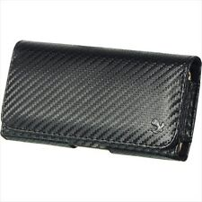 Carbon Horizontal Belt Clip Holster Leather Pouch Case for Samsung Galaxy S5