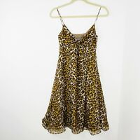 Camila & Marc Silk Women's Size 8 Animal Print Slip Dress 90's Style Fully Lined