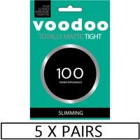 WOMENS 5 PACK VOODOO TOTALLY MATTE SLIMMING TIGHTS 100 Denier Pantyhose Black