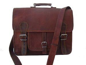 New Men's Genuine Vintage Brown Leather Messenger Shoulder Laptop Bag Crossbody