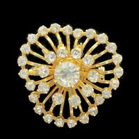 Vintage Brooch Clear Paved Crystals Gold Tone
