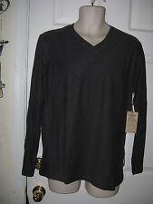 Paper Denim & Cloth men's L/S V neck shirt w ribbed shoulders Charcoal size L