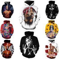 Mens Tupac Hooded Hip Hop Rapper 2pac 3D Print Casual Hoodie Sweatshirt Pullover