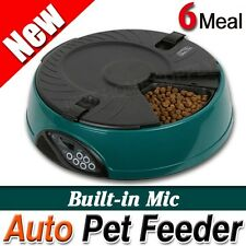 6 Meal LCD Pet Dog Cat Feeder Bowl With Microphone AUTO Program Digital Green