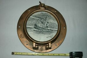 "Wilcox Crittenden Bronze Porthole Cover CW 6 With Tug Boat Drawing ""Goss"" 1995"