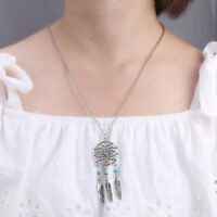 1x Dream Catcher Turquoise Feather Charm Pendant Long Jewelry Chain Necklace