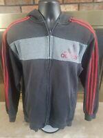 Adidas Spellout Logo Full Zip Hoodie Hooded Sweatshirt Mens Sz Large Black Gray