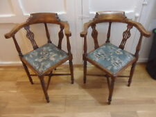 pair of antique corner chairs antique hall window chairs tapestry seats hardwood